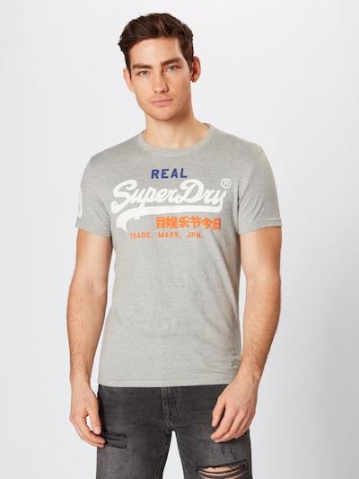 Superdry T-Shirt in grau / orange / weiß: Frontalansicht