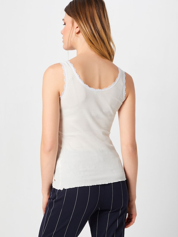 Lace Tom Blanc 'rib Mix Haut En Tailor Denim Top' n0Nw8m