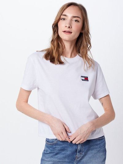 Tricou Tommy Jeans pe alb: Privire frontală