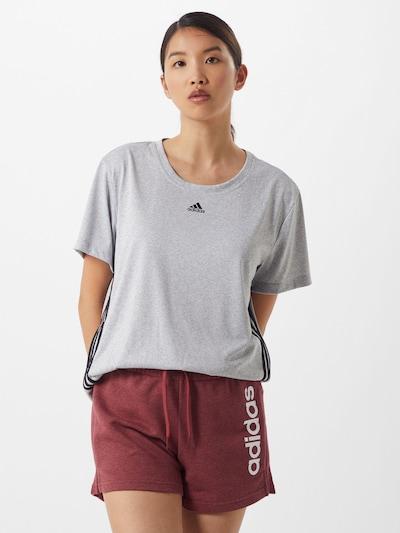 ADIDAS PERFORMANCE T-shirt fonctionnel en gris chiné / noir / blanc: Vue de face