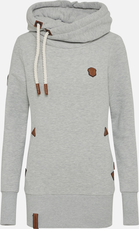 naketano Sweatshirt 'Darth Long' in de kleur Bruin / Grijs gemêleerd / Wit, Productweergave