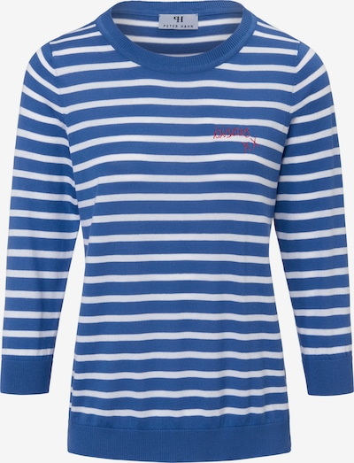 Peter Hahn Pullover Rundhals-Pullover aus 100% PIMA-Baumwolle in blau / weiß, Produktansicht