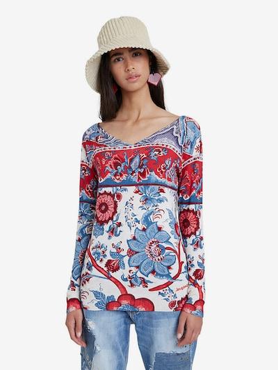 Desigual Pullover 'BARRIE' in blau / rot / weiß: Frontalansicht
