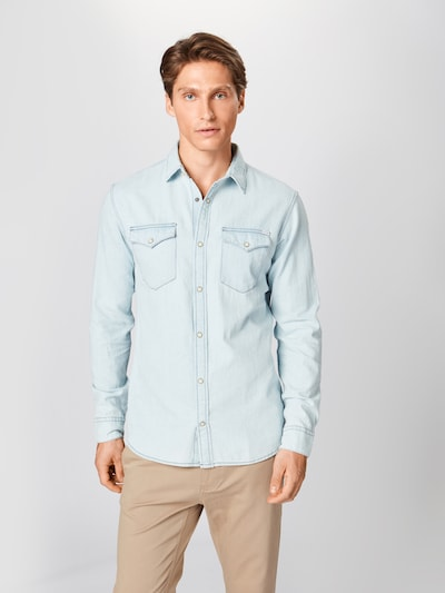 JACK & JONES Overhemd 'JJESHERIDAN SHIRT L/S NOOS' in de kleur Blauw denim: Vooraanzicht