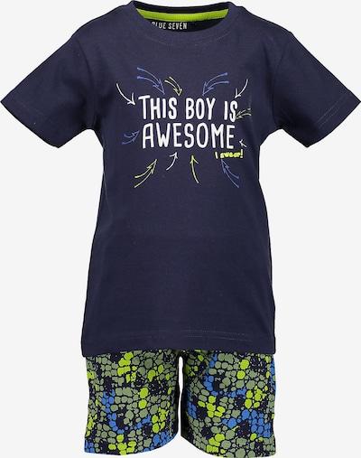 BLUE SEVEN T-Shirt + Sweatshorts in navy / neongrün / weiß, Produktansicht