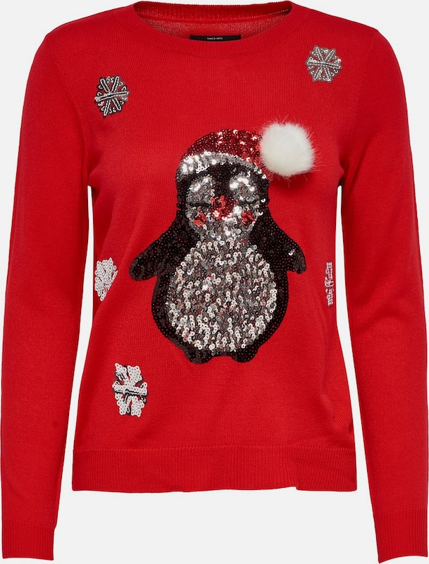 ONLY Pullover 'onlX-MAS PENGUIN L/S PULLOVER KNT' in rot, Produktansicht