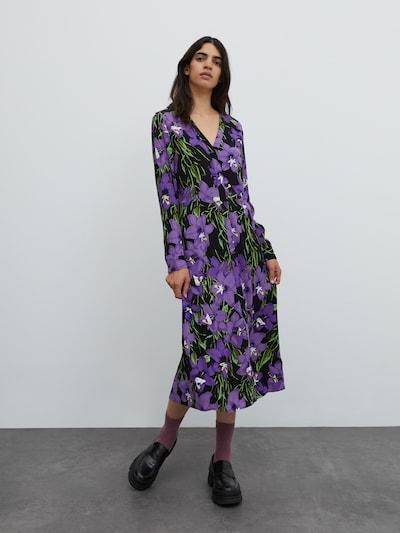 EDITED Košilové šaty 'Sallie' - zelená / fialová / černá, Model/ka