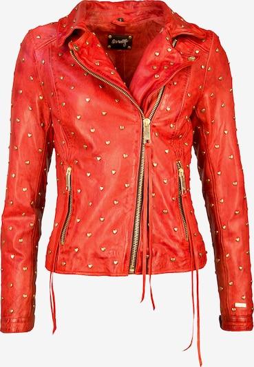 Maze Biker-Lederjacke mit asymmetrischem Reißverschluss ' Heart ' in rot, Produktansicht