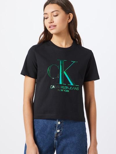 Calvin Klein Shirt 'IRIDESCENT CK STRAIGHT TEE' in grün / schwarz: Frontalansicht