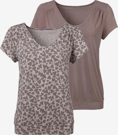 LASCANA T-shirt en taupe / blanc, Vue avec produit