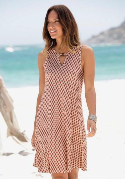 LASCANA Kleid in sand / rot / karminrot, Modelansicht