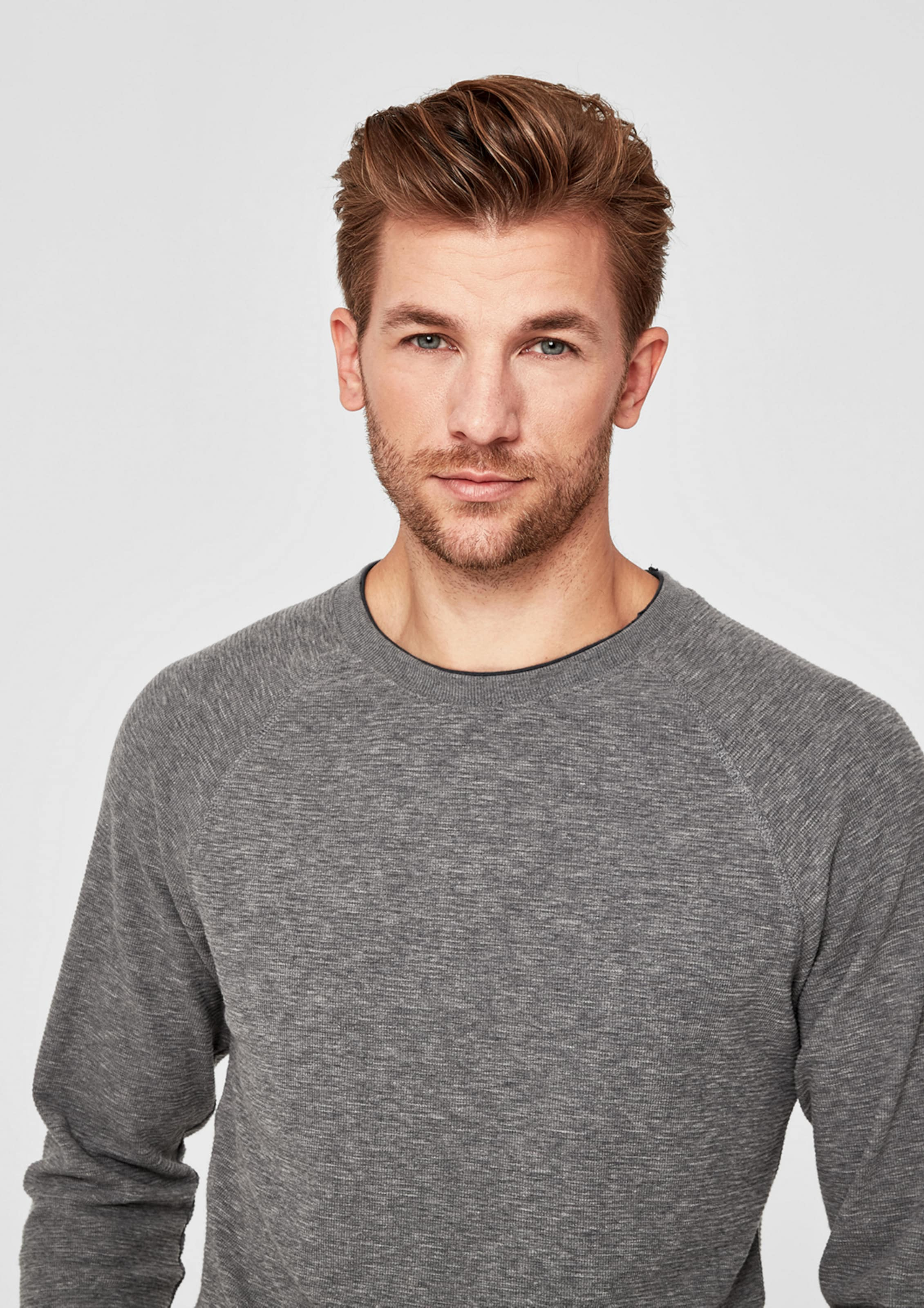Graumeliert Red S Label Longsleeve oliver In N80wvmnO