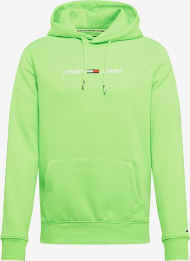 Tommy Jeans Dressipluus 'NEON SMALL LOGO HOODIE' neoonroheline / valge, Tootevaade