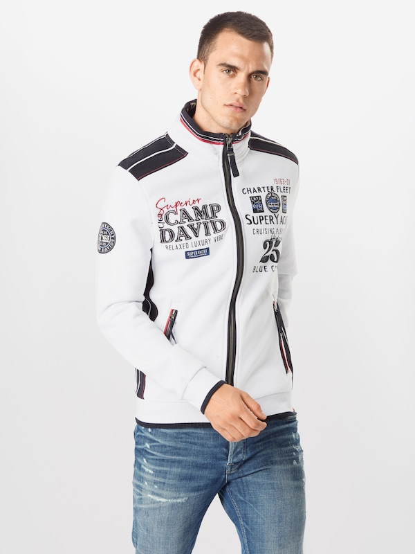 CAMP DAVID Sweatjacke 'Super Yachting II' in Naturweiß