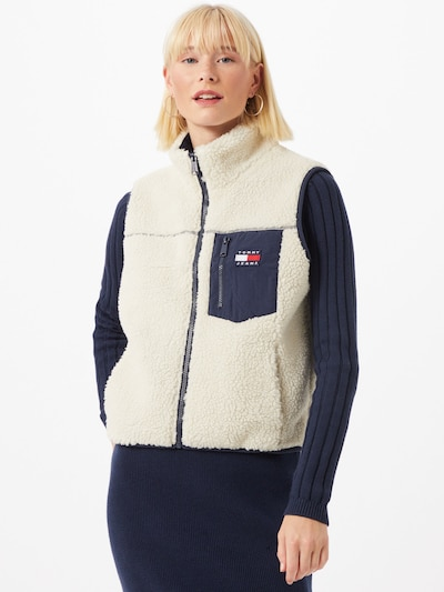 Tommy Jeans Weste 'SHERPA' in creme / marine, Modelansicht