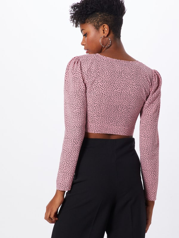 Fashion Union Blouse 'LAMB' in de kleur Rosa / Bourgogne: Achteraanzicht
