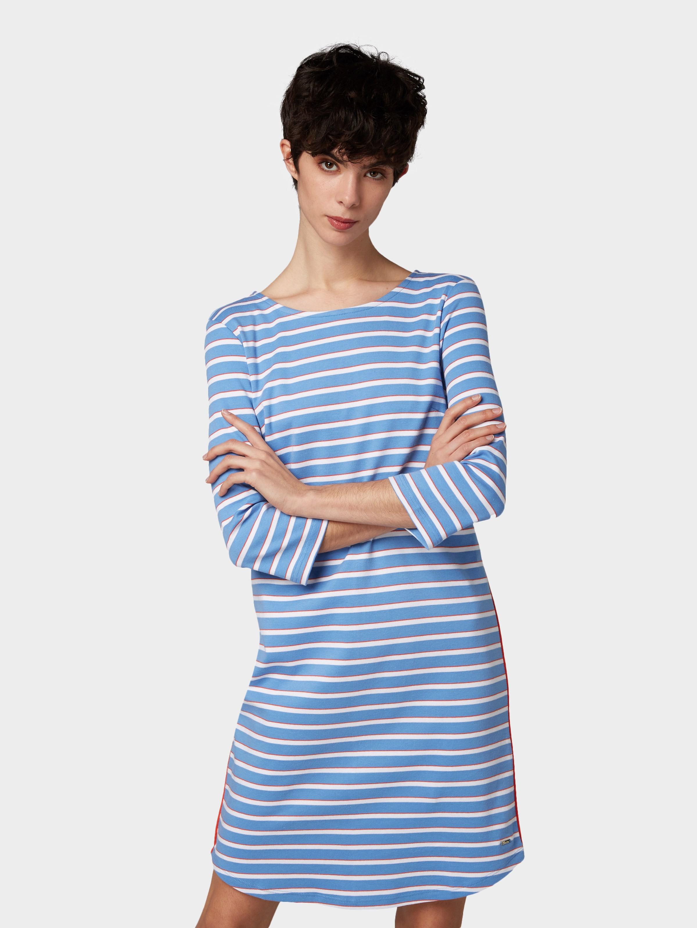 Denim Weiß HimmelblauRot Tailor In Kleid Tom J3FKTlc1