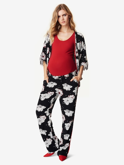 Supermom Strickjacke ' Kimono ' in rot / schwarz / weiß: Frontalansicht