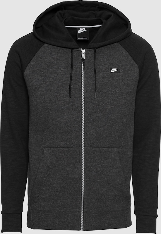 Nike Sportswear Sweatjacke 'M NSW OPTIC HOODIE FZ' in dunkelgrau   schwarz  Große Preissenkung