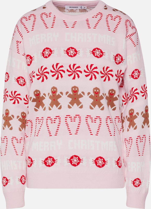 Missguided Pullover 'Christmas Gingerbread Man Jumper' in rosa: Frontalansicht