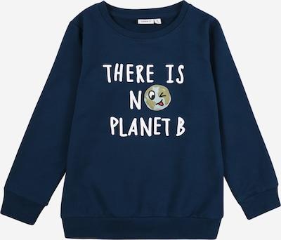 Bluză de molton 'La Planet' NAME IT pe albastru închis / alb: Privire frontală