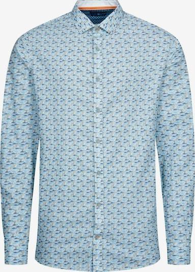 COLOURS & SONS Langarmhemd Hemd 'Shark-Print OWEN' in blau / grau, Produktansicht