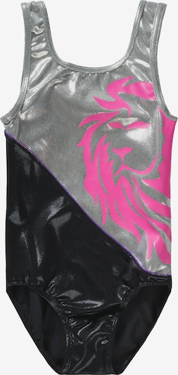 Bloch Gymnastikanzug in pink / schwarz / silber, Produktansicht