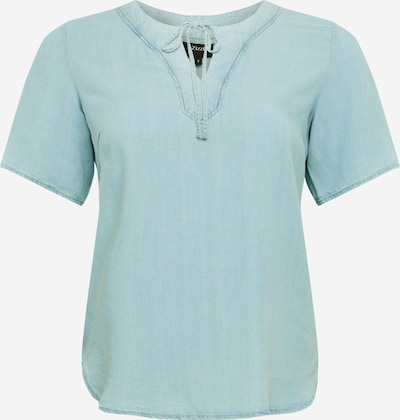 Zizzi Shirt in blue denim / hellblau, Produktansicht