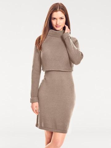 heine Gebreide jurk in Bruin