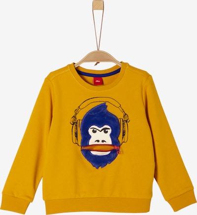 s.Oliver Junior Sweatshirt in blau / dunkelgelb / schwarz / weiß: Frontalansicht