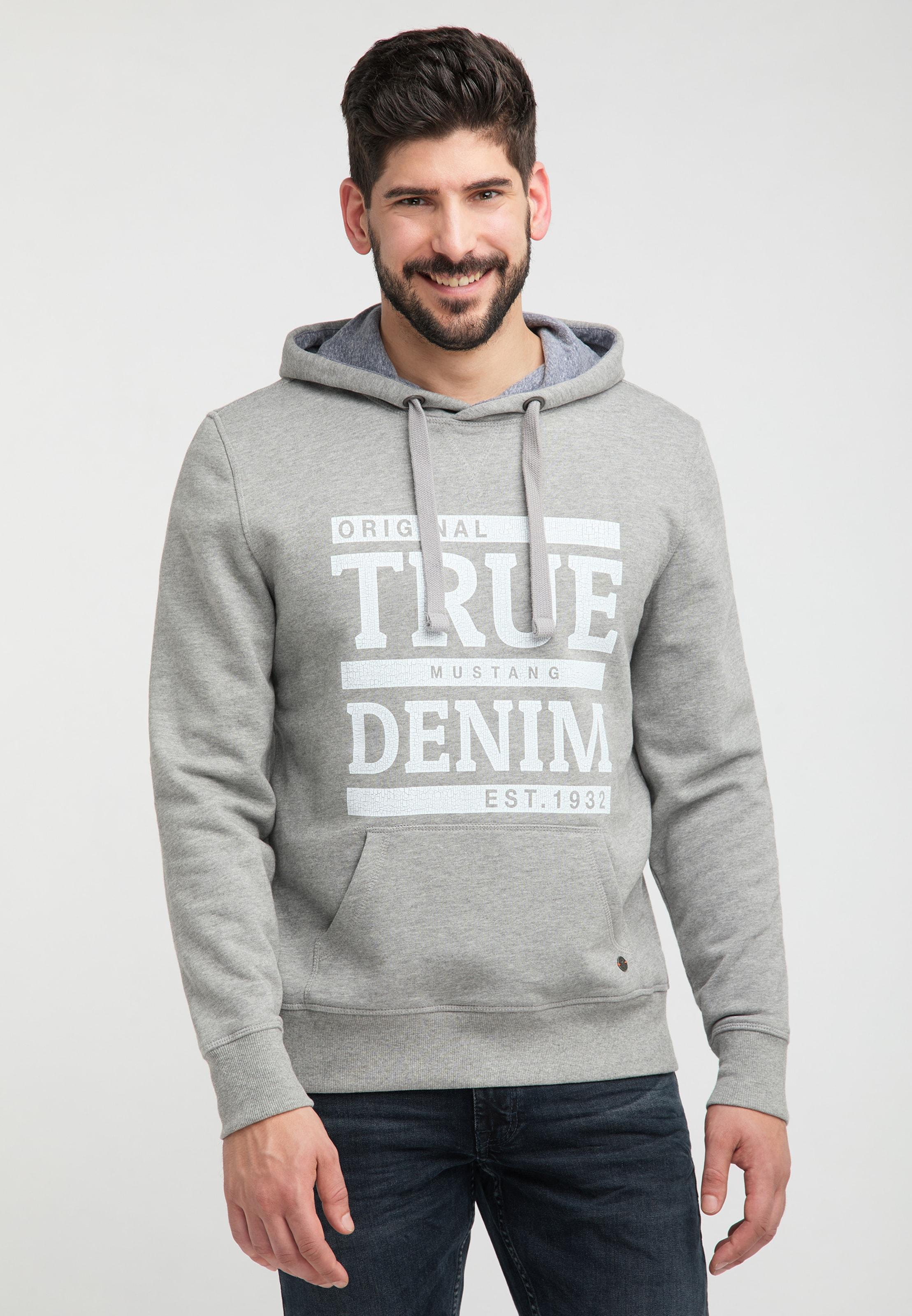MUSTANG Sweatshirt ' Print-Sweatshirt ' in graumeliert / weiß Baumwolle 1008005000002