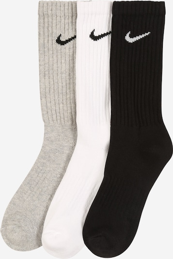 NIKE Socken 'Cushion Crew Training Sock' in hellgrau / schwarz / weiß, Produktansicht