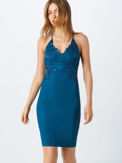 Lipsy Kleid 'TEAL APPLIQUE HIGH NECK BODYCON' in petrol, Modelansicht