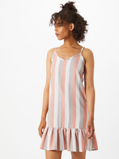 SISTERS POINT Kleid 'CAROL' in creme / grau / koralle: Frontalansicht