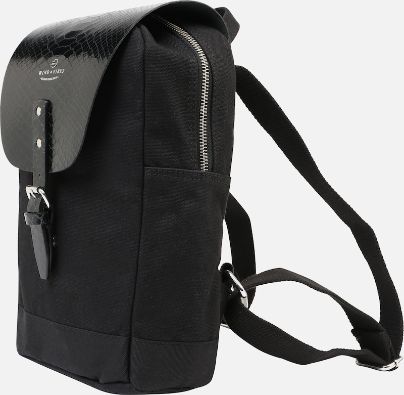 WIND & VIBES Rucksack 'Mayfair Canvas Mini' in schwarz, Produktansicht