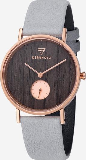 Kerbholz Armbanduhr 'Frida' in rauchblau / braun / rosegold, Produktansicht