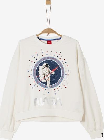 s.Oliver Junior Sweatshirt in dunkelblau / rot / silber / naturweiß, Produktansicht