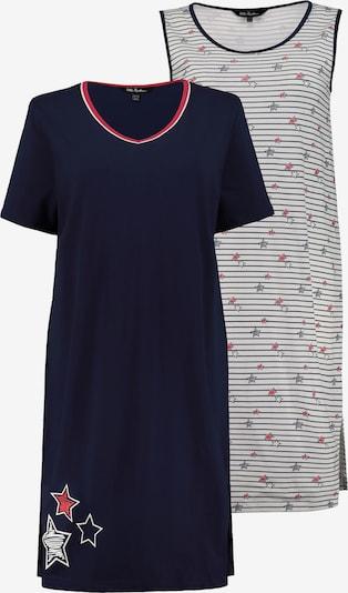 Ulla Popken Chemise de nuit en bleu foncé / rouge clair / blanc cassé, Vue avec produit