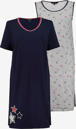 Ulla Popken Nachthemd in dunkelblau / hellrot / offwhite, Produktansicht