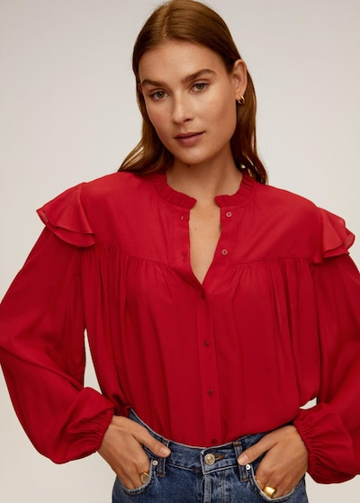 MANGO Bluse zaidicre in rot, Modelansicht