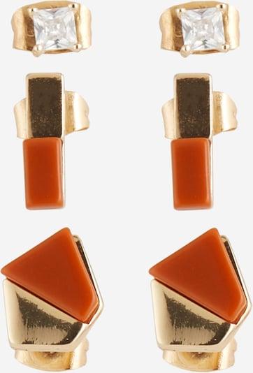 PIECES Ohrstecker 'PCMINNA EARSTUDS 3-PACK' in cognac / gold, Produktansicht