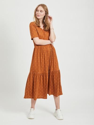 OBJECT Kleid in rostbraun / weiß, Modelansicht