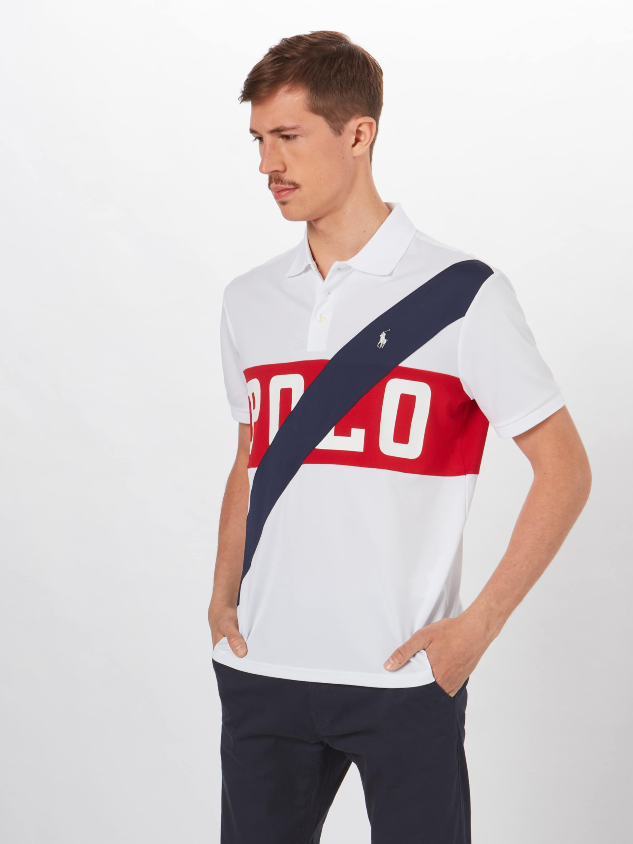 En Lauren T shirt Blanc Polo Ralph Bleu FoncéRouge m0wON8vn