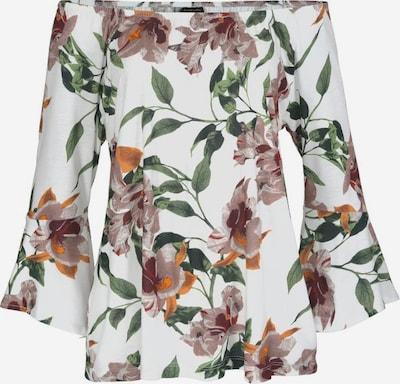 LASCANA Bluse in dunkelgrün / dunkelrot / weiß, Produktansicht