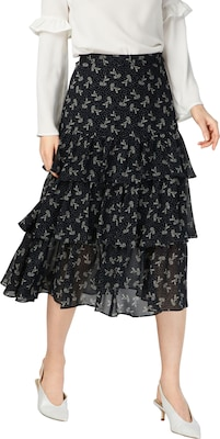 The Kooples Rock 'LONG FRILLED SILK CHIFFON SKIRT WITH A BLOOM PRINT'