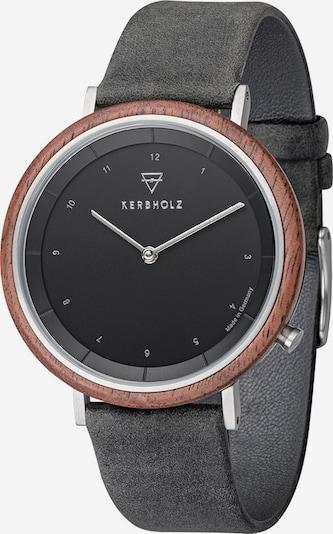Kerbholz Uhr in braun / basaltgrau / silber, Produktansicht