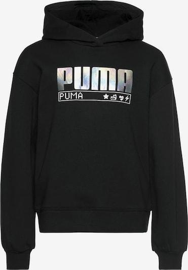 PUMA Kapuzensweatshirt »ALPHA HOODIE FLEECE GIRLS« in schwarz / silber, Produktansicht