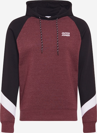 JACK & JONES Sweatshirt in weinrot / schwarz / weiß: Frontalansicht
