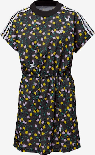 ADIDAS ORIGINALS T-Shirt Kleid in gelb / dunkelgrün / altrosa / schwarz / weiß: Frontalansicht