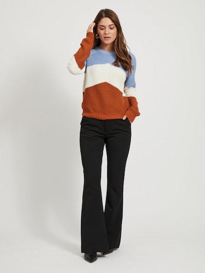 OBJECT Pullover in hellblau / rostbraun / naturweiß: Frontalansicht